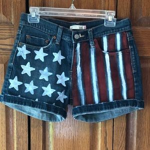 American Flag Style Jean Shorts Levi